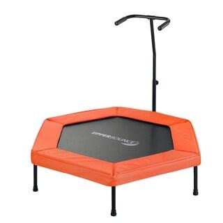 "Pyper 50"" Hexagonal Fitness Trampoline with Handrail - Orange"