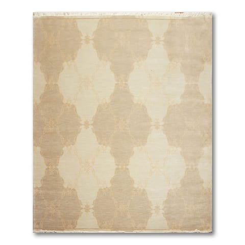 Transitional Turkish Weave Hand-Knotted Oriental Area Rug - Ming Green/Light Brown - 8' x 10'
