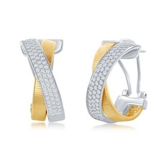 La Preciosa Sterling Silver Italian Designer Bonded w/ Platinum and 14K Gold, Set w/ CZ Criss Cross 'X' Matte Earrings