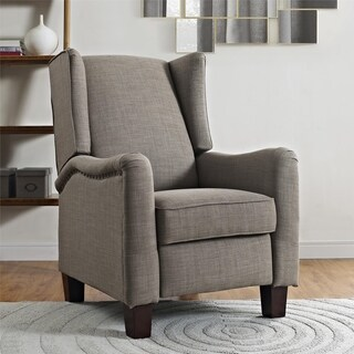 Avenue Greene Leighton Grey Wingback Pushback Recliner