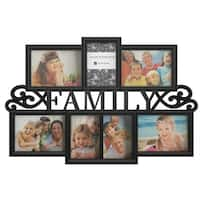 Family Collage Picture Frame with 7 Openings for Three 4x6 and Four 5x7 Photos Lavish Home (Black)