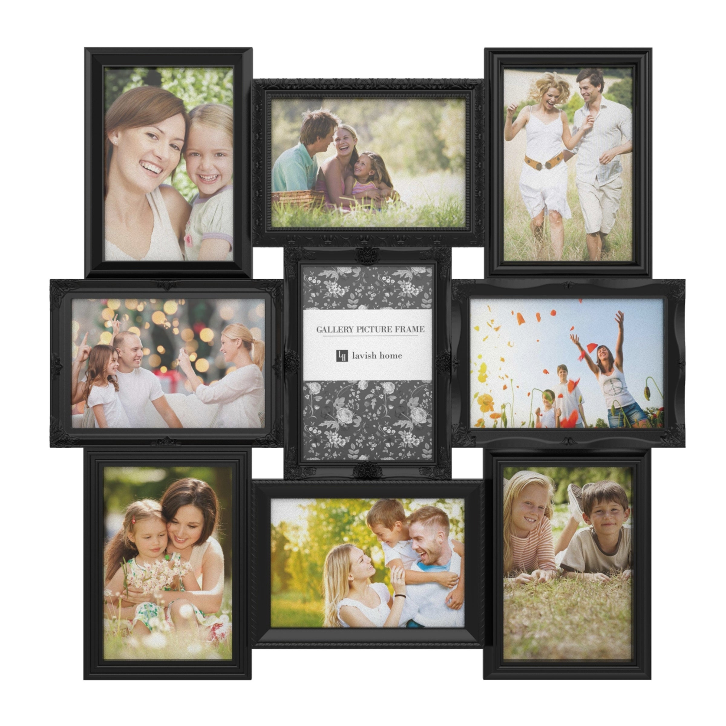 Wall Mounted Black Plastic Collage 6 Multi Photo Picture Frame Photograph 4x6