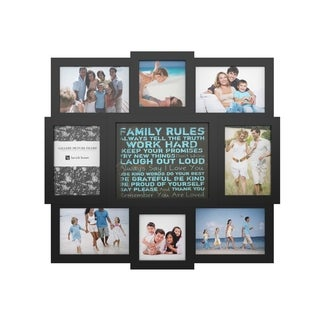 Family Rules Collage Picture Frame with 8 Openings for Six 4x6 and Two 4x4 Photos (Black)