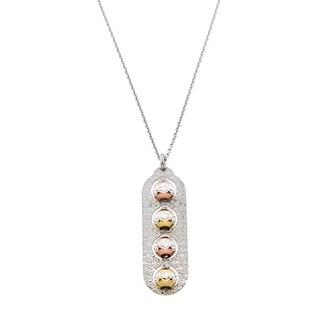 Eternally Haute Italian 4 Toned Solid Sterling Silver Diamond Cut Bead Bar Pendant Necklace