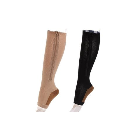Copper Infused Zipper Compression Socks - Zip Up Circulation Pressure Stockings