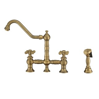 Vintage III Plus Bridge Faucet with Long Traditional Swivel Spout, Cross Handles and Solid Brass Sid (5 options available)