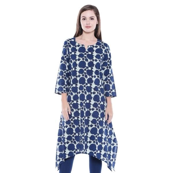 b57f058e3c1 In-Sattva Women  x27 s Indian Summer Indigo Print Asymmetrical Kurta Tunic