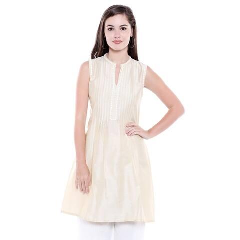 In-Sattva Women's Indian Summer Collection Pintucked Sleeveless Kurta Tunic