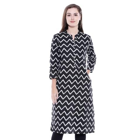 In-Sattva Women's Indian Summer Collection Zig-Zag Print Cotton Kurta Tunic