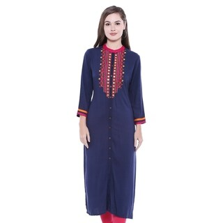 In-Sattva Women's Patterned Yoke Button Down Indian Kurta Tunic Shirt