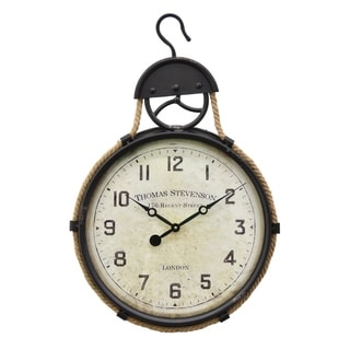 Three Hands Black/Off White Metal Wall Clock