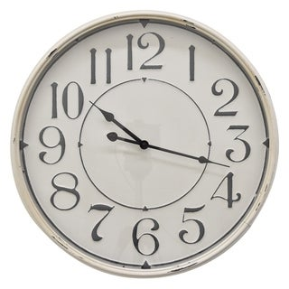 """19 """" Three Hands Metal Wall Clock in White"""
