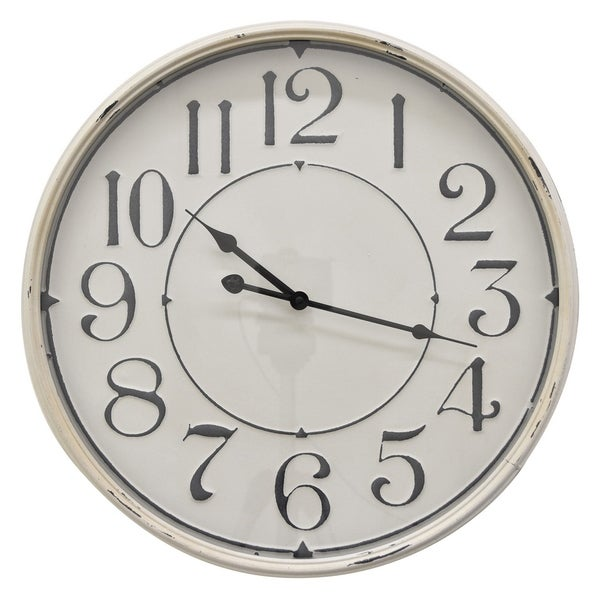 "19 "" Three Hands Metal Wall Clock in White"