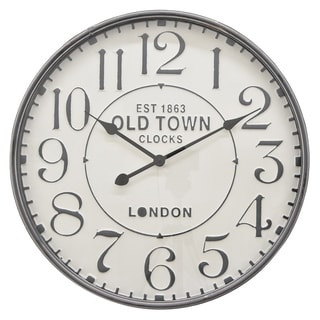 "23.5 "" Three Hands Metal Wall Clock in Gray"
