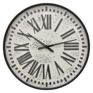 "28 "" Three Hands Metal Wall Clock in Black"