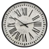 "28 "" Three Hands Metal Wall Clock in Black"