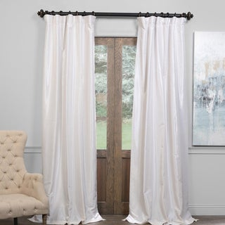 "Exclusive Fabrics True Blackout Vintage Textured Faux Dupioni Silk Curtain in Storm Grey- 108""L (As Is Item)"