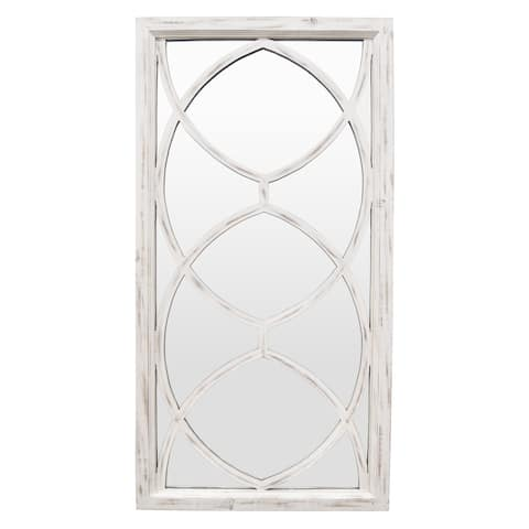 "46 "" Three Hands Wood Wall Mirror-White Wash in White"