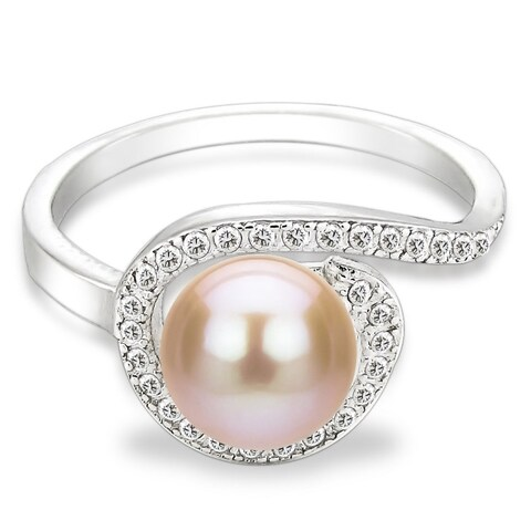 DaVonna Sterling Silver 7-8 mm Pink Freshwater Pearl and White Topaz Spiral Ring