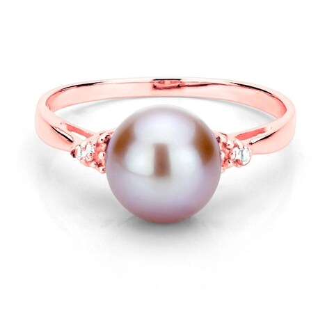 DaVonna 18k Gold over Silver 8-9mm Round Pearl and 1/10ct TDW Diamond Ring (L-M, I1-I2)