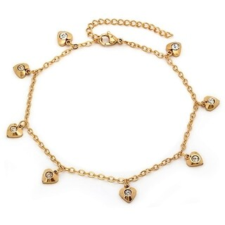 Piatella Ladies Gold Tone Heart Cubic Zirconia Anklet