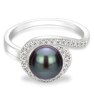 DaVonna Sterling Silver 7-8 mm Black Freshwater Pearl and White Topaz Spiral Ring