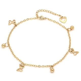 Piatella Ladies Gold Tone Stainless Steel Anklet with Butterfly and Bead Charms