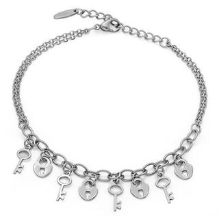 Piatella Ladies Stainless Steel Lock and Key Anklet