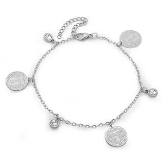 Piatella Ladies Stainless Steel Cubic Zirconia Religious Charm Anklet in 2 Colors (2 options available)