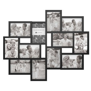 Collage Picture Frame with 12 Openings for 4x6 Photos- by Lavish Home (Black)