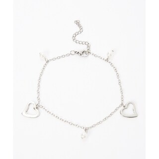 Piatella Ladies Stainless Steel Heart and Simulated Pearl Anklet