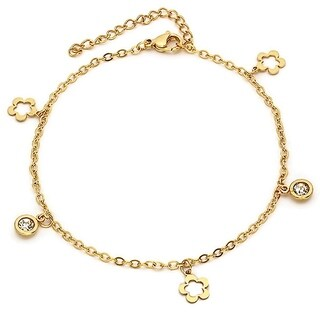 Piatella Ladies Gold Tone Stainless Steel Cubic Zirconia and Flower Charm Anklet