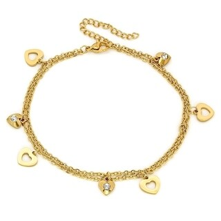 Piatella Ladies Gold Tone Stainless Steel Anklet with Heart and Swarovski Crystal Charms