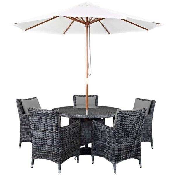 Invite 7 Piece Outdoor Patio Sunbrella Dining Set