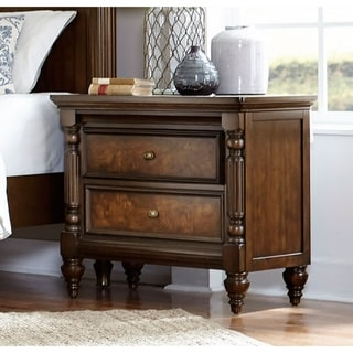 Traditional Wooden Nightstand With 2 Drawers In Cherry Brown