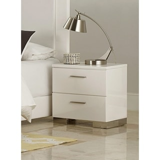 Modern Style Wooden Nightstand With 2 Drawers In White