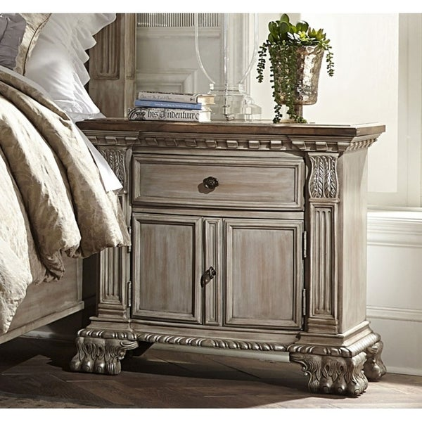 Spacious Wooden Nightstand With A Drawer and Cabinet Light Brown