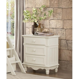 Traditional Night Stand with 3 Drawers In Wood White