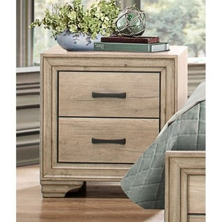 Wooden Night Stand With 2 Drawers In Brown