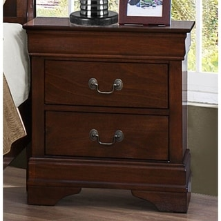Wooden Night Stand With Curvy Handle Drawer Cherry Brown