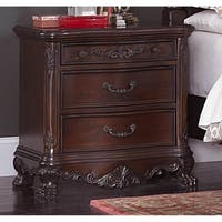 Wooden Night Stand With Intricate Carvings Cherry Brown