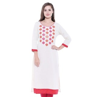 In-Sattva Women's Embroidered Classic Indian Summer Kurta Tunic