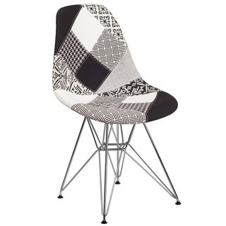 Modern Mid-Century Black and White Patchwork Upholstered Chair with Artistic Chrome Legs