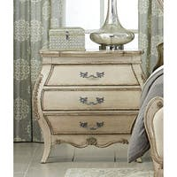 Finely Carved Victorian Night Stand with 3 Drawers Antique White
