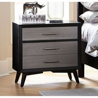 Contemporary Style Wooden Night Stand In Black and Gray