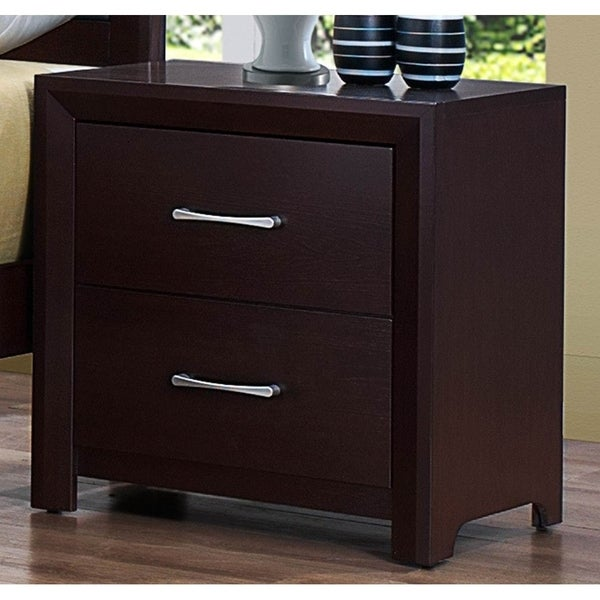 Wooden Night Stand with 2 Drawers Espresso Brown