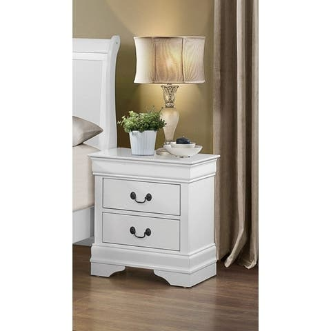 Wooden Night Stand with 2 Spacious Drawers White