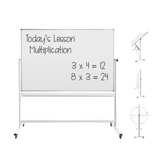 """Thornton's Office Supplies Magnetic Mobile Dry Erase Whiteboard Easel, 70 x 48, 80""""h"""