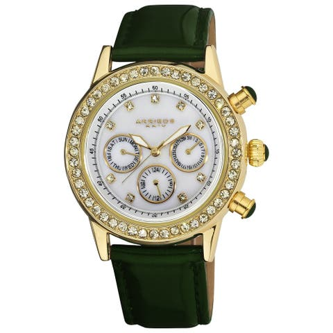 Akribos XXIV Ladies Sparkling Crystal Date Green Leather Strap Watch