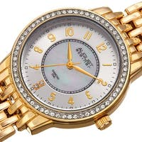 August Steiner Diamond Mother of Pearl Crystal Gold-tone Bracelet Watch